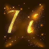 Alphabets I of gold glittering stars. Illustration vector
