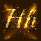 Alphabets H of gold glittering stars. Illustration vector