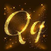 Alphabets Q of gold glittering stars. Illustration vector