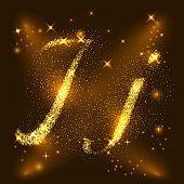 Alphabets J and j of gold glittering stars. Illustration vecto