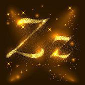 Alphabets Z of gold glittering stars. Illustration vector