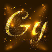 Alphabets G of gold glittering stars. Illustration vector