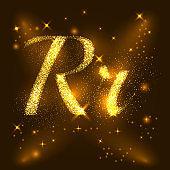Alphabets R and r of gold glittering stars. Illustration vector