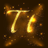 Alphabets T of gold glittering stars. Illustration vector