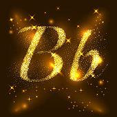 Alphabets B of gold glittering stars. Illustration vector