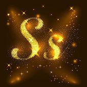 Alphabets S of gold glittering stars. Illustration vector