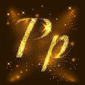 Alphabets P of gold glittering stars. Illustration vector