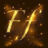 Alphabets F of gold glittering stars. Illustration vector