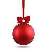 Red Christmas ball with ribbon and a bow, isolated on white background. Template of matt realistic Christmas ball. Stocking element christmas decorations. Isolated object. Vector