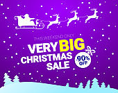 Big Christmas sale. Vector banner with Santa Claus and deers flying up the forest on the purple background. Stocking element christmas decorations. Web banner or poster for e-commerce, on-line shop