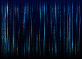Stream of binary code on screen. Abstract vector background. Data and technology, decryption and encryption, computer matrix background with the cyan symbols and numbers. Vector illustration