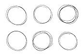 Hand drawn line circle black sketch set. Vector circular pen round circles for message note mark design element. Pencil or pen bubble or ball hand draft illustration isolated in white background