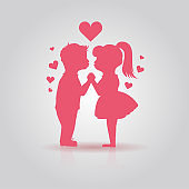 Cute pink icon of kissing couple of children. Boy and girl stand Holding hands before kiss. First Love, First kiss, together forever, Valentines day, love and romance concept,vector illustration