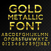 Gold metallic glossy vector font or gold style alphabet. Yellow metal typeface. Metallic golden abc, alphabet typographic luxury premium deluxe text effect isolated in transparent black background