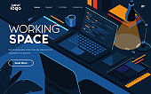 Flat Modern design Illustration of Working Space