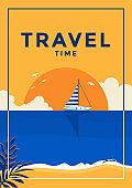 Summer Background Flat design travel time
