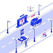Flat color Modern Isometric Illustration design - Autonomous Vehicles