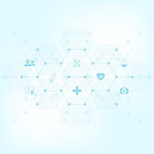Abstract medical background with flat icons and symbols. Template design with concept and idea for healthcare technology, innovation medicine, health, science and research.