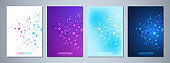 Set of vector template brochures or cover design, book, flyer, with molecules background and neural network. Abstract geometric background of connected lines and dots. Science and technology concept.