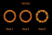 Set of wooden round frame app, 3 steps to progress.