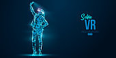 VR headset holographic low poly wireframe banner. Abstract silhouette of a woman, a girl in virtual reality glasses smiles and takes a selfie photo. VR games. Particles on blue background, vector neon
