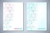 Template brochures or cover design, book, flyer, with molecules background and chemical engineering. Template design with concept and idea for science and innovation technology.