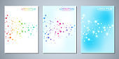 Vector template brochures or cover design, book, flyer, with molecules background and neural network. Abstract geometric background of connected lines and dots. Science and technology concept.