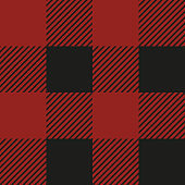 Lumberjack plaid seamless pattern. Vector illustration. Red color. Textile template.