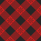 Red plaid seamless pattern template. Vector illustration. Textile template.