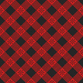 Plaid seamless pattern. Vector illustration. Red textile template.