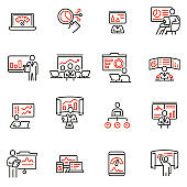 Vector set of linear icons related to gathering, analytics information, development statistic, expertise and consulting. Mono line pictograms and infographics design elements