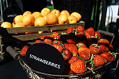 Fruit buffet. Strawberries and apricots.