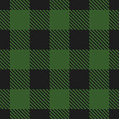 Lumberjack plaid pattern. Vector seamless background. Fabric template in dark green color.