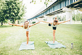 Tranquil athletic women in sportswear do yoga exercises