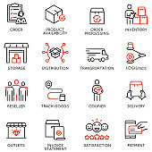 Vector Set of Linear Icons Related to Tracking Order, Shipping and Express Delivery Process. Mono line pictograms and infographics design elements