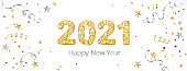 New year banner with decoration. 2021 gold glitter numbers.
