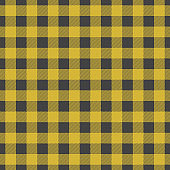 Lumberjack plaid seamless pattern. Vector illustration. Dark yellow color. Textile template.