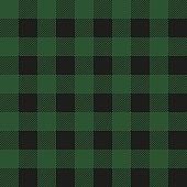 Lumberjack plaid seamless pattern. Vector textile template. Dark green color.