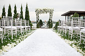 Beautiful flower decoration of the wedding venue and ceremony, details