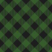 Lumberjack plaid pattern. Vector seamless background. Fabric template in dark green color. Diagonal lines.