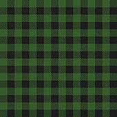 Lumberjack plaid dark green seamless pattern. Vector illustration.