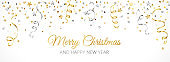 Christmas banner with decoration. Falling confetti, festive border.