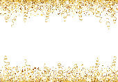 Celebration background with glitter decoration isolated on white. Falling confetti, holiday border.