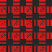 Plaid seamless pattern. Red color. Vector illustration. Textile template.