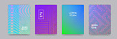 Color gradient background, geometric halftone line pattern, vector abstract design. Simple minimal elements in halftone color gradient, modern pattern backgrounds