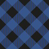 Lumberjack plaid seamless pattern. Vector illustration. Dark blue color. Textile template.