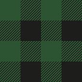 Lumberjack plaid seamless pattern. Vector illustration. Green color. Textile template.