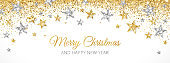Christmas holiday decoration. Gold and silver vector border. Ornaments with stars.