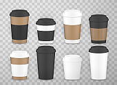 Coffee cups to go with lids realistic set