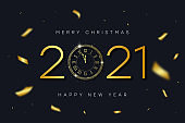 2021 New Year and Merry Christmas banner with gold vintage clock with Roman numerals and golden confetti. Shiny text and clock-face dial with eve for New Year. Vector